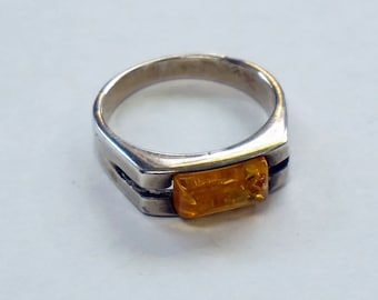 Genuine BALTIC AMBER Ring Sterling Silver RING size 8 Statement Ring Amber Ring Gift for Her Women present Holiday gift Idea under 100