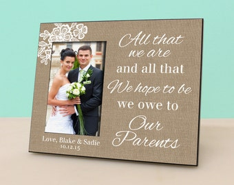 Parent Wedding Gift- Personalized Picture Frame - Wedding Burlap Photo Frame Personalized - In Laws Gift - Parents Thank You Gift - PF1032