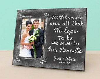 Parent Wedding Gift- Personalized Picture Frame - Wedding Chalkboard Photo Frame Personalized - In Law Gift - Parents Thank You Gift -PF1047