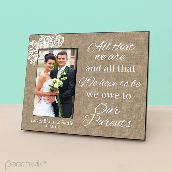 Parent Wedding Gift- Personalized Picture Frame - Wedding Burlap Photo ...