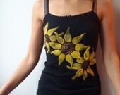 Black Hand painted Tshirt, Sunflowers Tshirt, Spaghetti straps Tshirt, Unique hand painted Tshirt