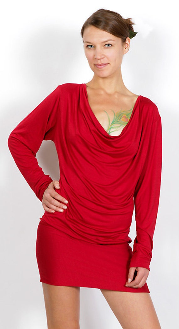 Cowl Neck Backless Long Sleeve Dress in Chili Red with Lace Up Ties