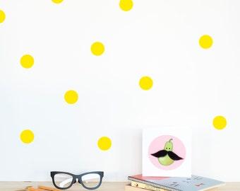 Polka dots Wall decal Yellow / Wall Dots Home decor / Polka dot wall Nursery decor / Pink Mint Yellow Black White Dots Vinyl Sticker