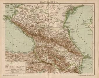 1893   THE CAUCASUS old map. Caucasia
