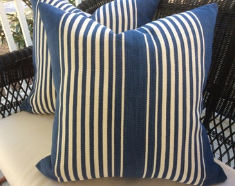 "Ralph Lauren Pillow Cover in ""Joaquin"" Denim Striped Cotton"