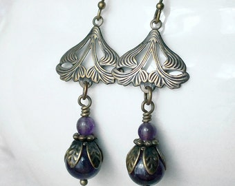 Art Nouveau Earrings, Amethyst Earrings, Purple and Brass Floral Earrings, Gemstone Jewellery, Handmade UK