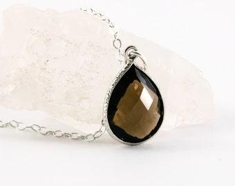 Smokey Quartz Necklace, Gemstone Necklace, Minimal Simple Jewelry