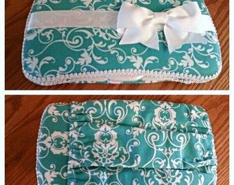Travel Baby Wipe Case - Aqua Wipe Case - Wipes Case with Pocket - White Travel Wipe Case - Baby Wet Wipes Case w/Pocket - Teal Diaper Clutch