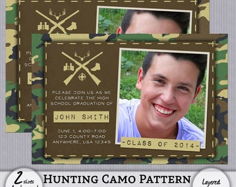 Graduation Announcement Hunting Camouflage Camo Boy - 4x6 - 5x7 - Instant Download