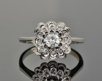 Vintage .55 Ct diamond solitaire flower cluster ring