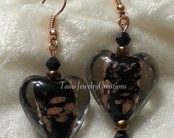 Heart Glass Bead Earring