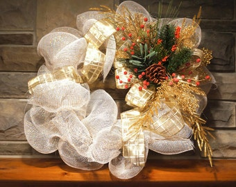 Popular items for white wreath on etsy for Elegant christmas decorations for sale