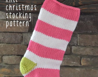 Knitted Christmas Stocking Patterns For Beginning : bold&bright knit christmas stocking pattern: EASY