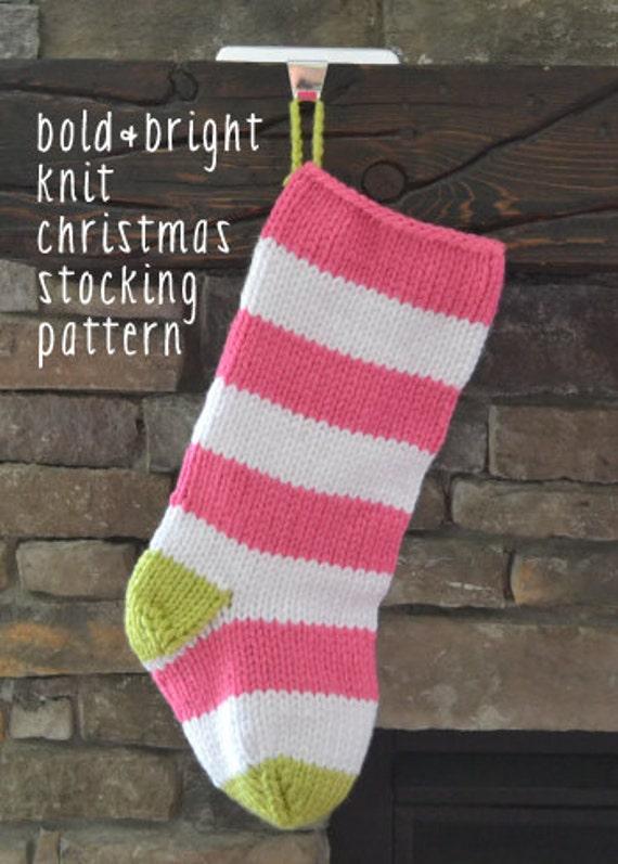 bold&bright knit christmas stocking pattern: EASY