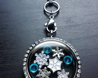 Snowflake Floating Locket Necklace-Includes Large Locket, Charms,  & Chain-Gift Idea