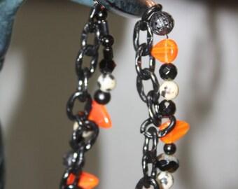 Black Chain Halloween Bracelet with Orange Glass Candy Beads