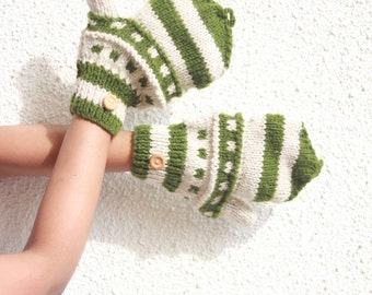 Hand Knit Cable Mittens / Olive and Cream Arm Warmers  Embroidered Hippie Boho Bohemian