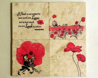 Set of Four 'The Wonderful Wizard of Oz' Travertine Tile Coasters - Poppies - Love - Friendship - Housewarming Gift