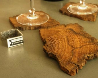 """Set of 4 coasters for glasses (or """"sub - boc"""") in wood"""