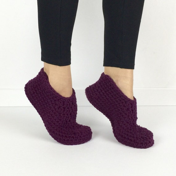 Items similar to crochet plum slippers knitted slippers for Minimalist house slippers