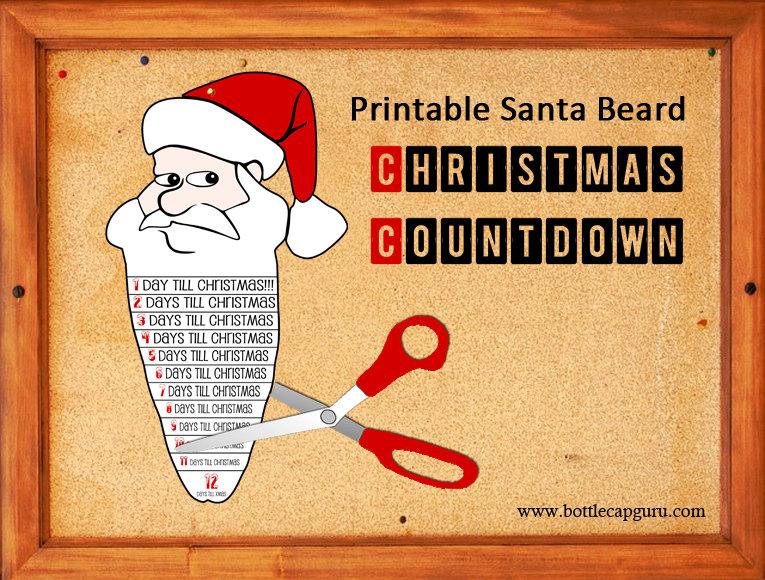 Printable Santa Beard 12 Day Christmas Countdown / Advent