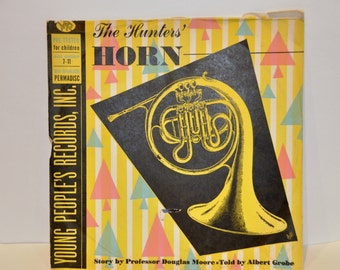 """Vinyl Records. Young People's Records. The Hunters' Horn. 78 RPM Records. LP Records. Old Records.10""""  Record. Album Art. Vinyl Records."""