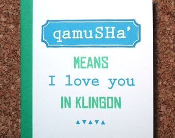 Star Trek Card - Klingon I love you