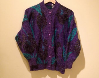 Vintage 80's Purple Floral Sweater. 1980's Sparkly Cardigan / Button up. Black. Green. Small. Medium.