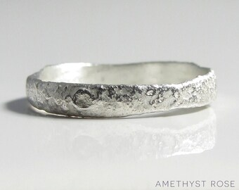 Moonscape Ring ~ Sterling Silver Ring (925‰) ~ Unique Handmade Textured Ring Band