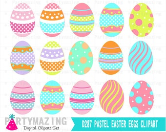 Easter Egg ClipArt Set, Clipart Set , Clip Art Digital Graphic, Scrapbooking, Instant Download -D287