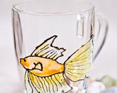 Hand painted mug with Goldfish. Stained-glass effect cup. Kitchen decor. Engagement gifts.