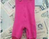 Baby wool dungarees trousers leggings pants pink Red Upcycled Wool cashmere 3-6months Girl Boy Unisex