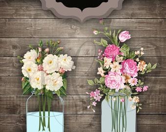 Wedding Clip art Mason Jars Digital Clipart - Vintage flower bouquet jar transparent background for scrapbooking, invitations, bridal shower