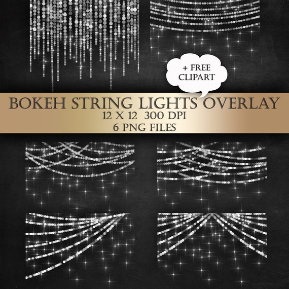String Lights Clipart No Background Free : Bokeh String Lights Digital Clip Art Overlay bunting fairy