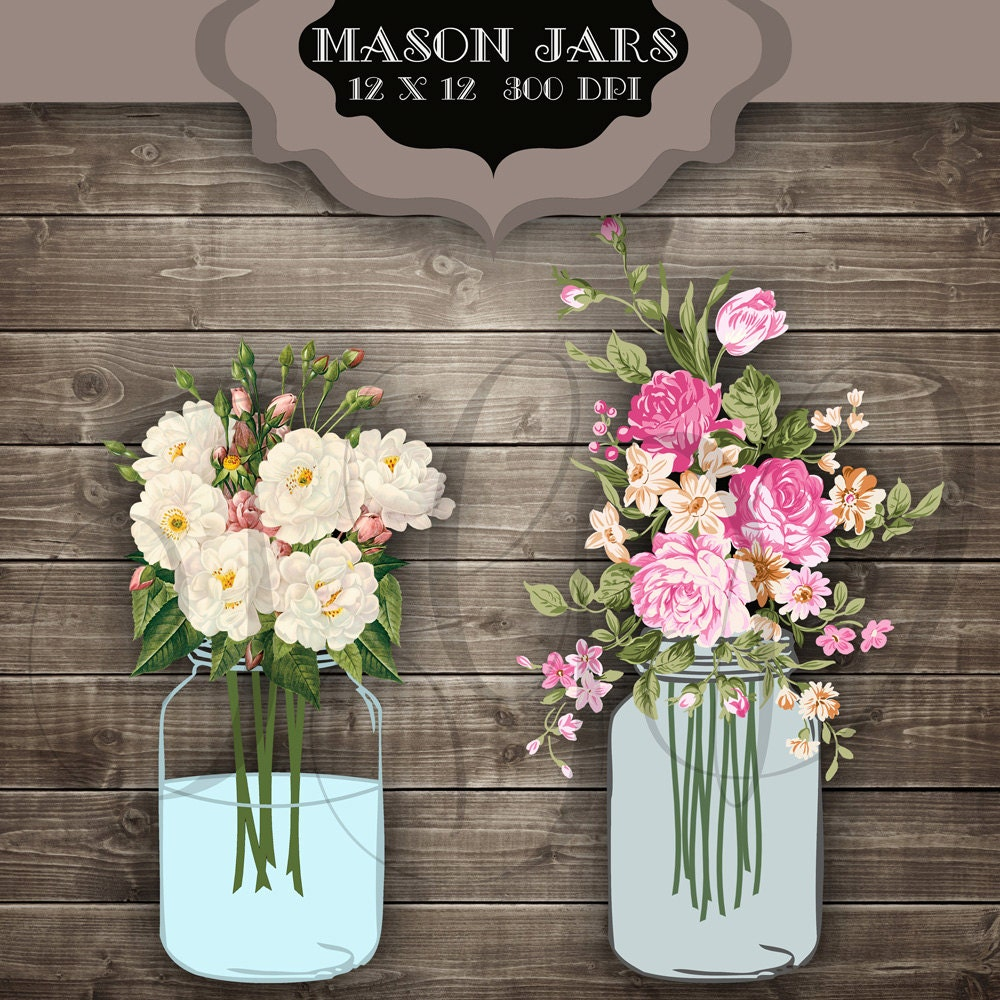 wedding clip art mason jars digital clipart vintage flower. Black Bedroom Furniture Sets. Home Design Ideas