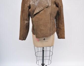 vintage leather jacket GANDALF biker womens oversized boyfriend fit