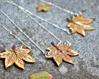 Maple Leaf autumn Necklace, with or without Ladybird, aluminium chain