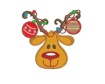 Red Nose Reindeer Christmas Applique Machine Embroidery Digitized Design Pattern - instant download - 4x4 , 5x7, and 6x10 -hoops