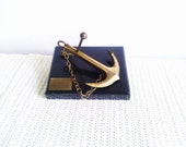 Vintage Souvenir / Golden Anchor on a black Plate /  Nautical Theme