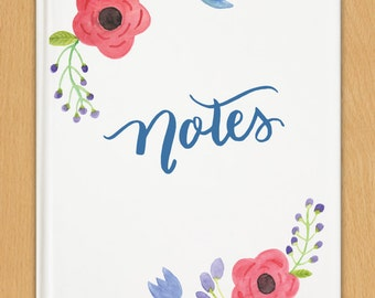 Watercolor Florals Journal - Notes Journal - Hand Painted Flowers
