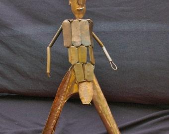Tribal Man Copper Sculpture
