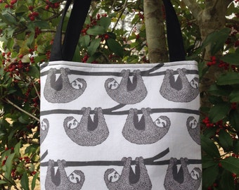 Sloths Fabric Purse, Shoulder Bag, Tote Bag, Gifts, Diaper Bag, Book Bag, Lunch Bag, Bible Bag
