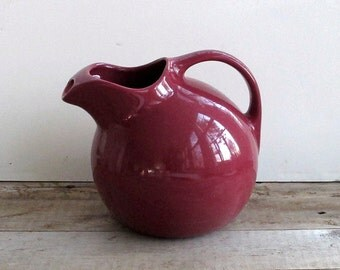 Hall China Ball Water Pitcher Maroon Vintage Hall Pottery