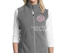 Monogrammed Womens Fleece Vest- Grey with Light Pink Monogram-- zip up light weight fleece jacket with several color options