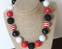 red and black chunky bead bubblegum necklace photography prop