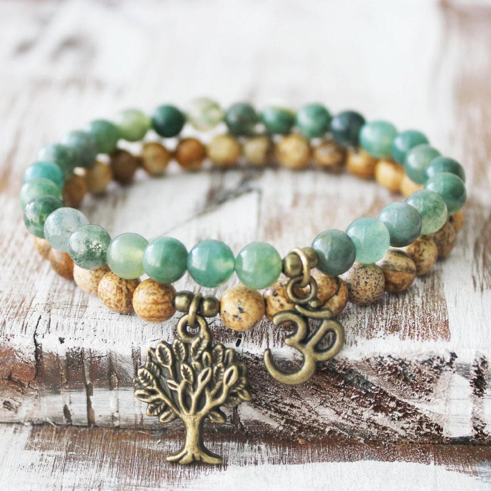 Yoga Beads: Mala Beads Mala Bracelet Yoga Bracelets Moss Agate Mala