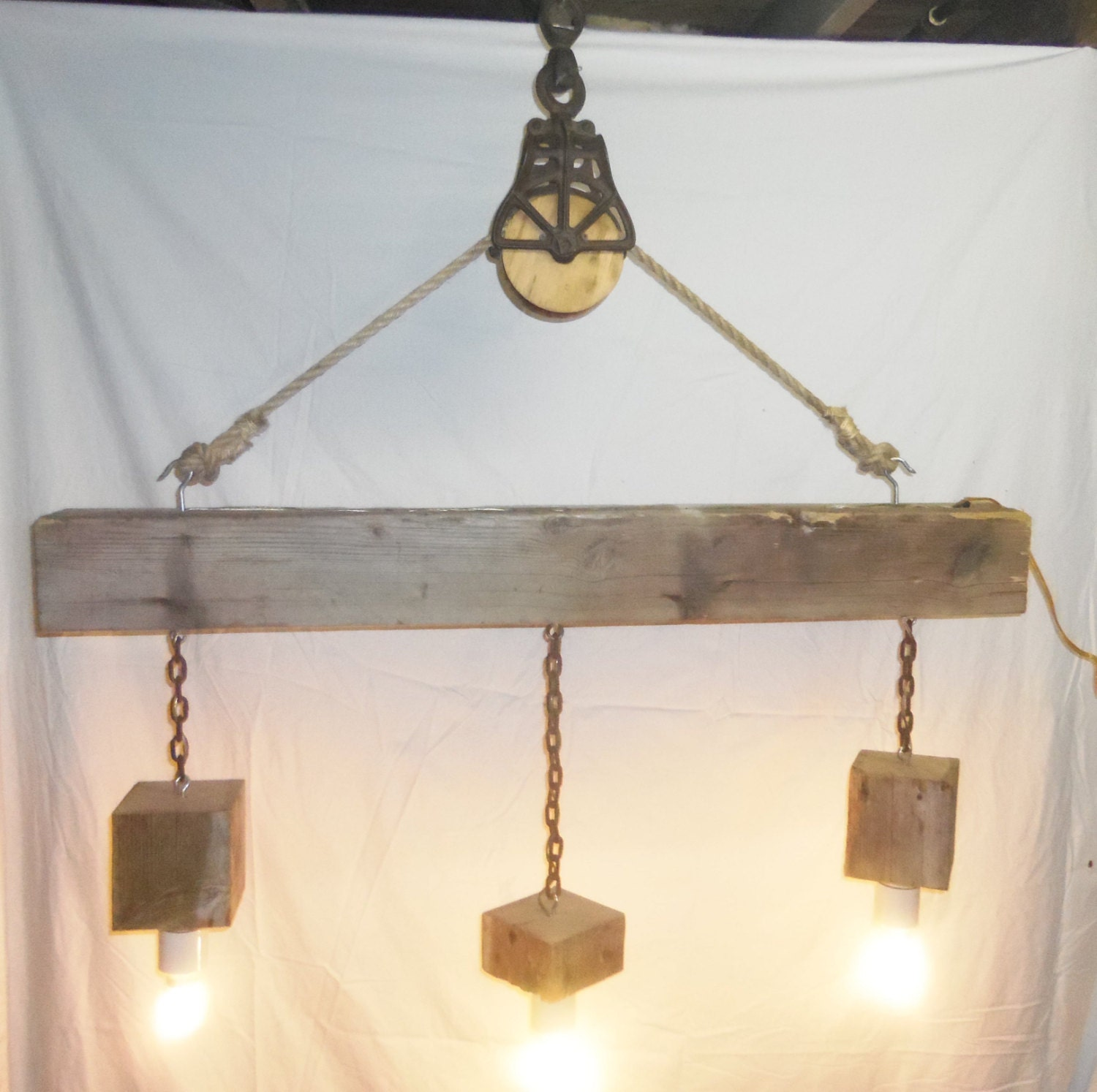 Just Reduced Rustic Handmade 3 Bulb Hanging Light Fixture Or: Reclaimed Barn Beam And Pulley 3 Light Chandelier