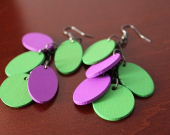 Green and Purple Chain Cluster Earrings with wooden flat beads, Wood Earrings
