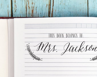 This Book Belongs To Stamp, Book Plate Stamp, Book Stamp, Gift for Her, Teacher Gift, Library Stamp, Ex Libris Stamp, Personalized Bookplate