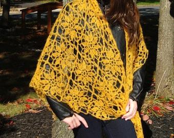 Crochet Triangular Flower Mohair Shawl in Dark Yellow